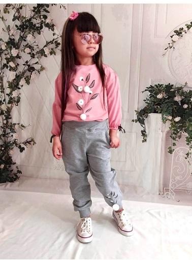 Quzucuk Kids Kız Çocuk Pamuk Figürlü Pembe Eşofman Takımı Renkli